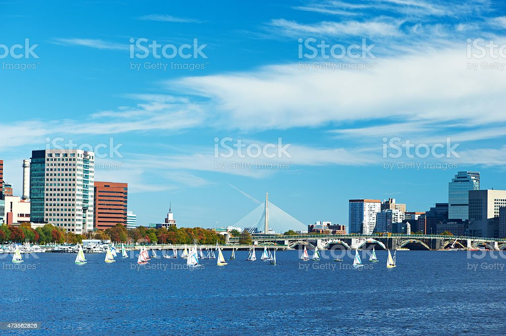 Boston and Charles river view from Harvard Bridge stock photo