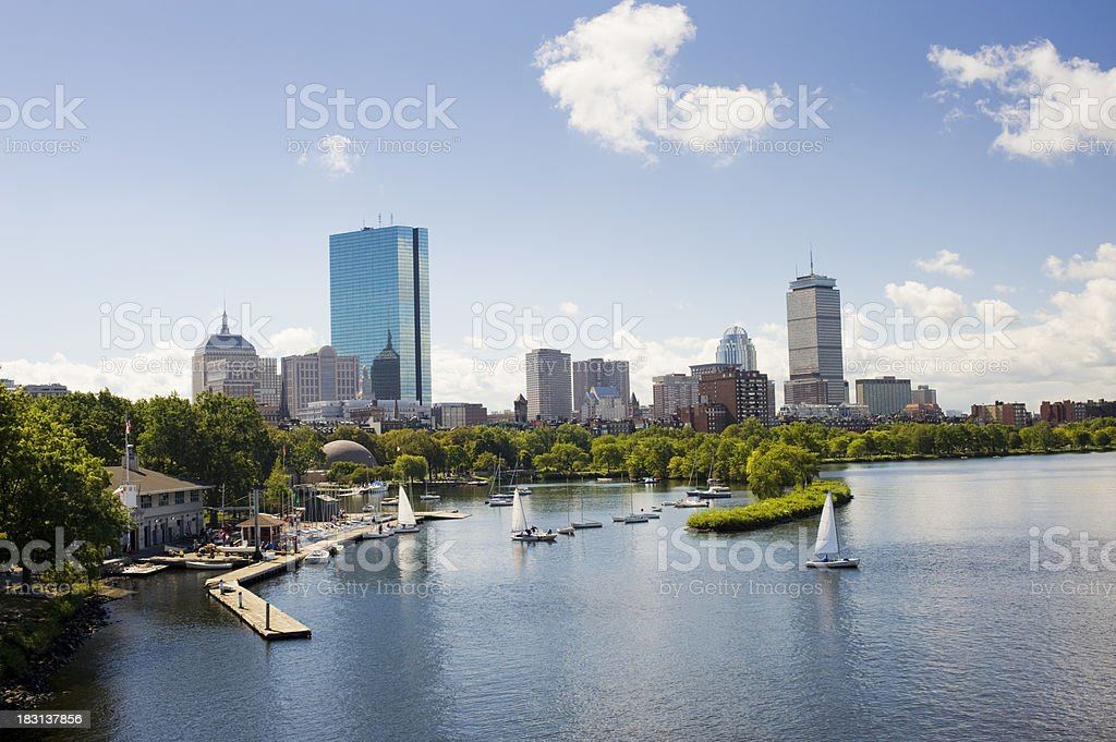 Boston and the Charles River City Skyline in the USA royalty-free stock photo