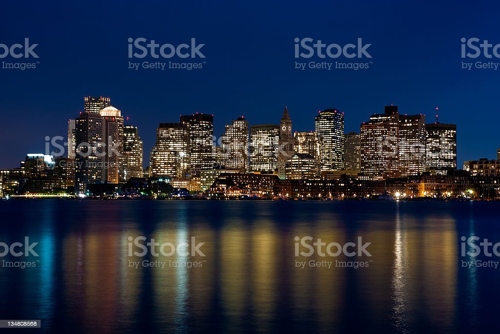 Boston at dusk stock photo