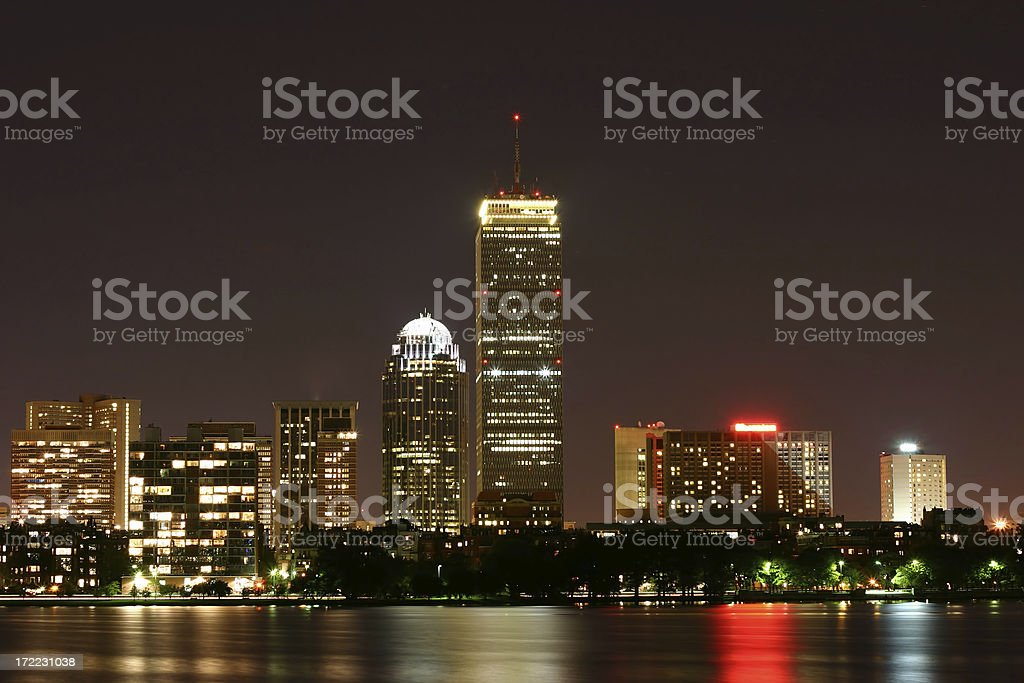 Boston At Night from Cambridge stock photo