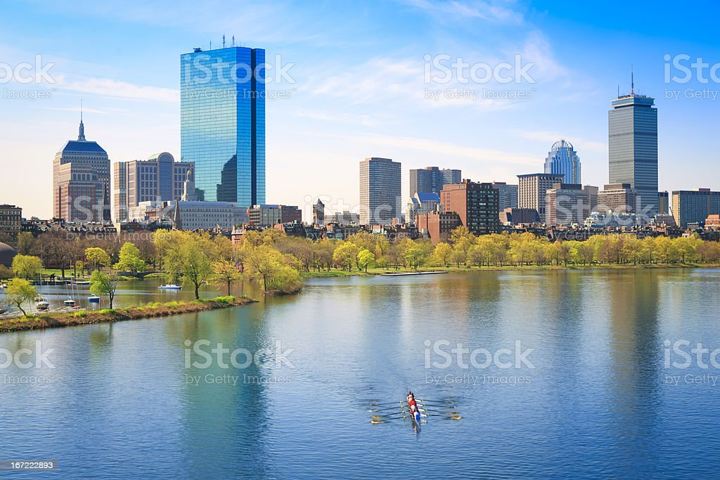 Boston Back Bay and Charles River stock photo