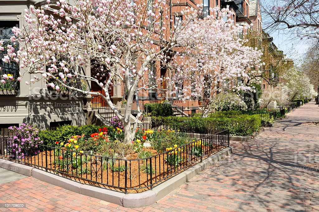 Boston Back Bay in early spring stock photo