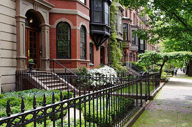 boston back bay - terraced houses stock photos and pictures