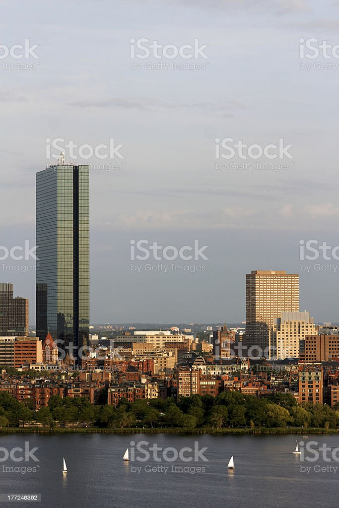 Boston Back Bay with the John Hancock Tower royalty-free stock photo