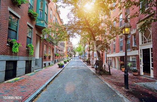 Boston Beacon Hill at sunset