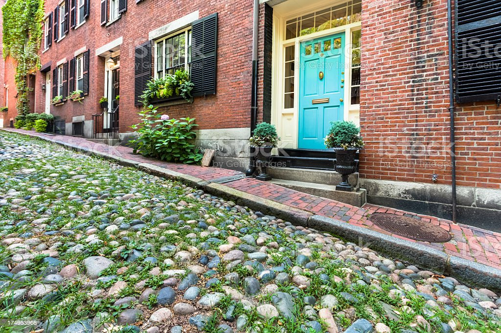 Boston Beacon Hill Homes on Acorn Street royalty-free stock photo