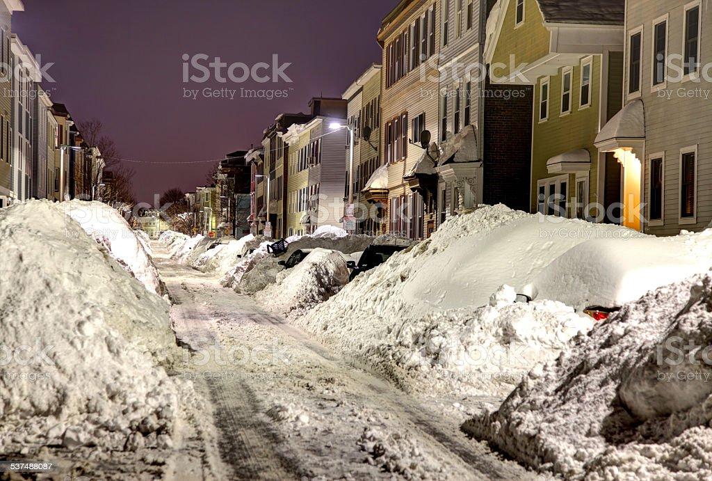 Boston Blizzard 2015. Snowiest Winter in Boston's History stock photo