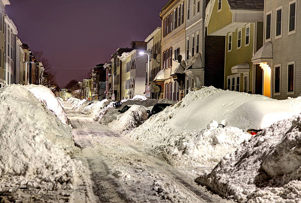 boston blizzard 2015. snowiest winter in boston's history - 2015 stok fotoğraflar ve resimler