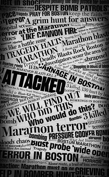 Boston Bombing Newspaper Headline Collage A  grungy, grainy black and white collage made up of newspaper clippings pertaining to topic of the deadly Boston Marathon Bombings from April 2013 newspaper cutouts of bad news headlines stock pictures, royalty-free photos & images