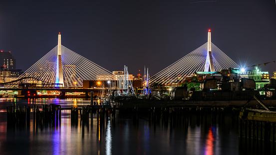 Boston bridge illuminated