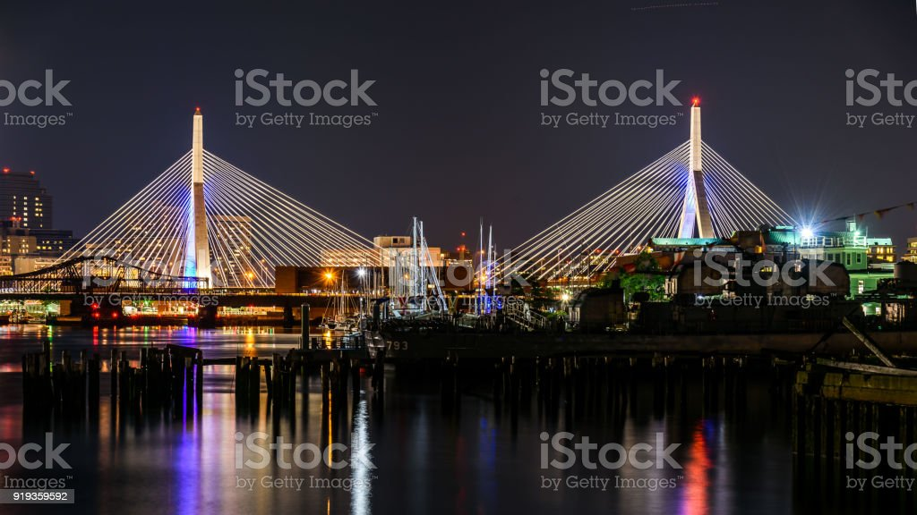 Boston bridge illuminated stock photo