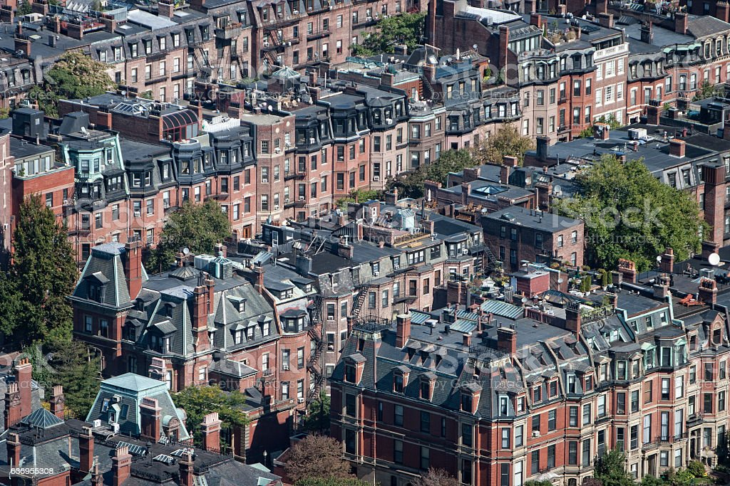 Boston Brownstones Aerial stock photo
