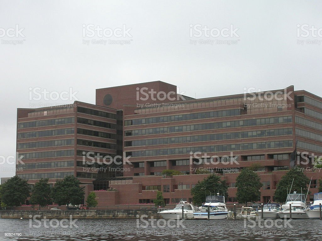 Boston Building with boat dock royalty-free stock photo