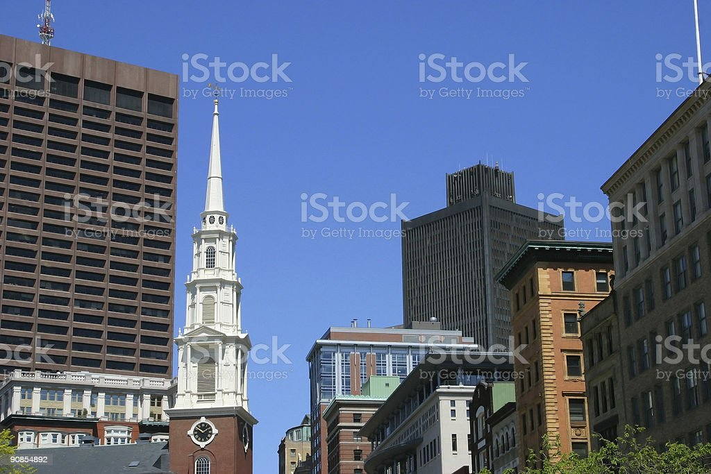 Boston Buildings and Church stock photo