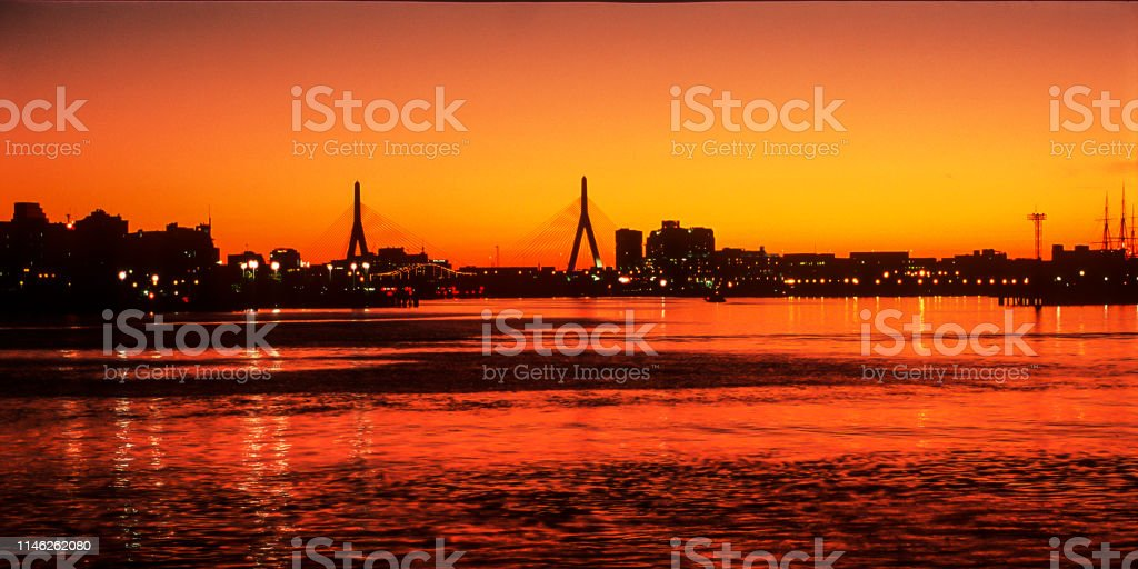 Boston bei Nacht - Lizenzfrei Abenddämmerung Stock-Foto