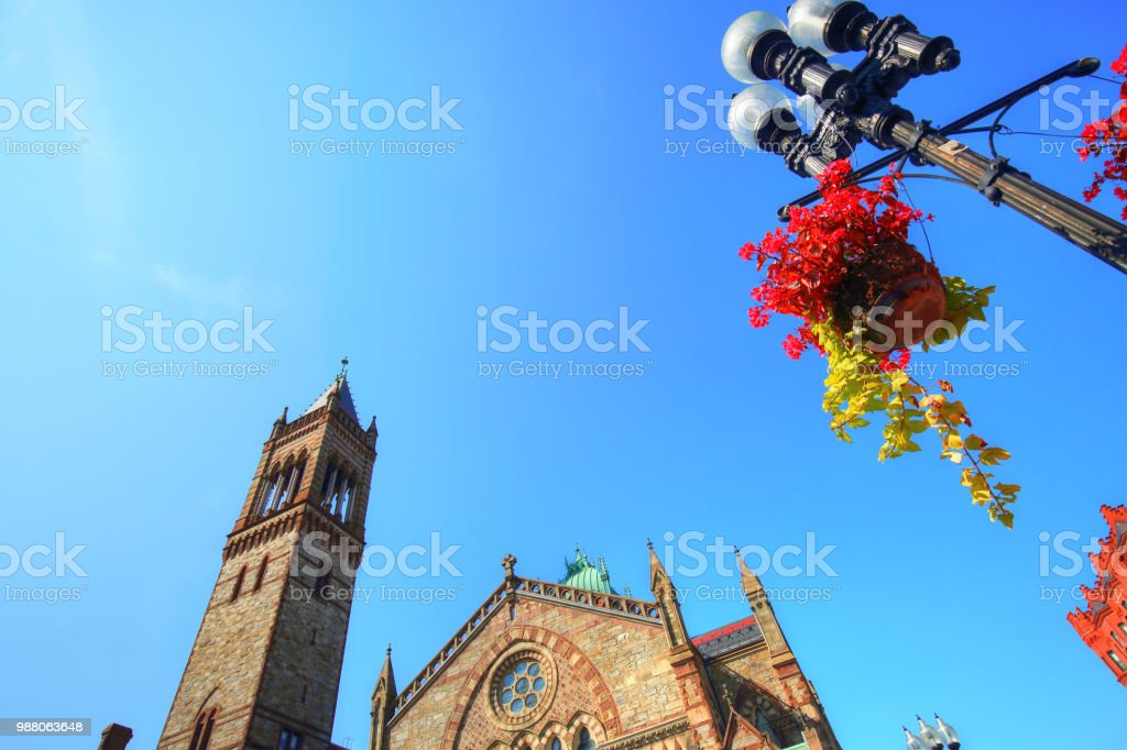 Boston church on Copley Square stock photo