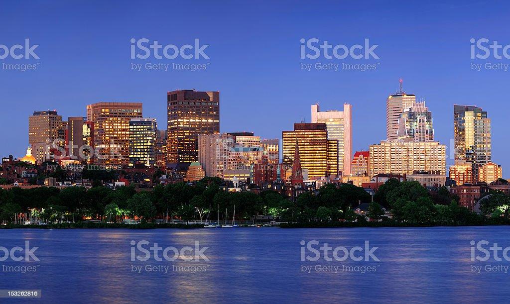 Boston city at night royalty-free stock photo
