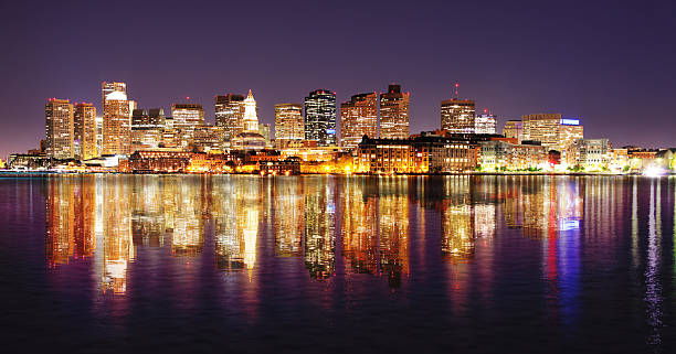 Boston City Night Lights with Reflections stock photo