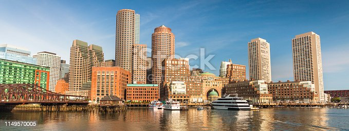 Boston riverfront and downtown cityscape panoramic of buildings on the waterfront wharf