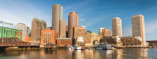 Boston city panorama skyline Massachusetts USA stock photo