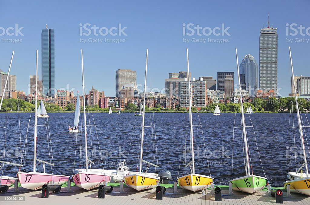 Boston City Rental SailBoats stock photo