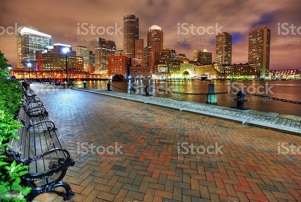 Boston City Riverwalk at Night stock photo