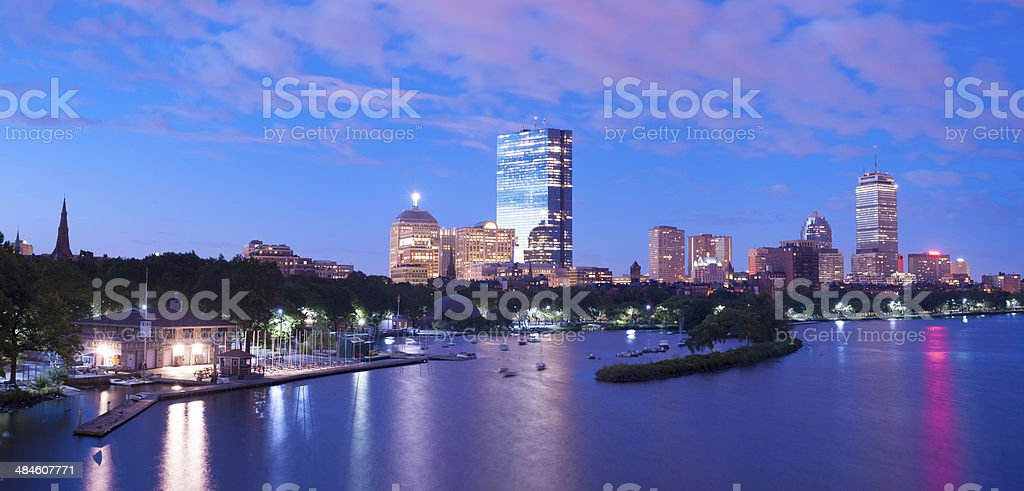 Boston City Skyline and Charles River USA royalty-free stock photo