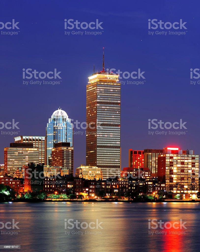 Boston city skyline at dusk royalty-free stock photo