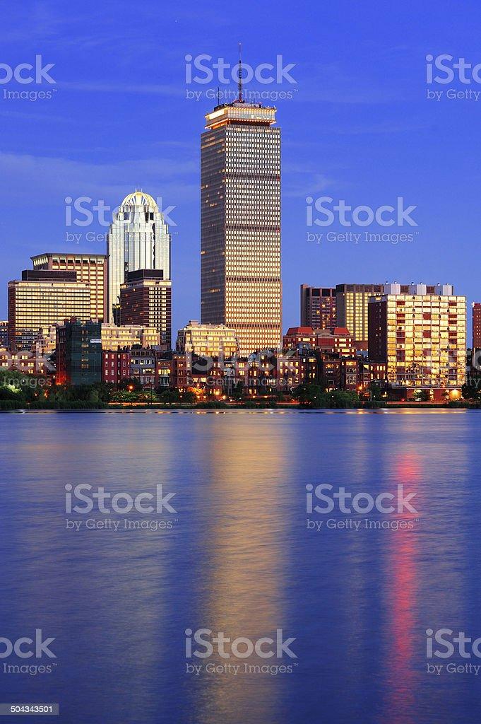 Boston city skyline at dusk stock photo
