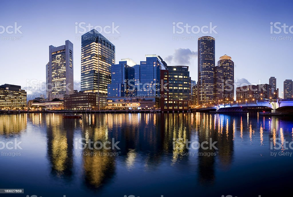 Boston City Skyline Illuminated at Night USA stock photo