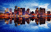 Boston City Sunset with Water Reflection