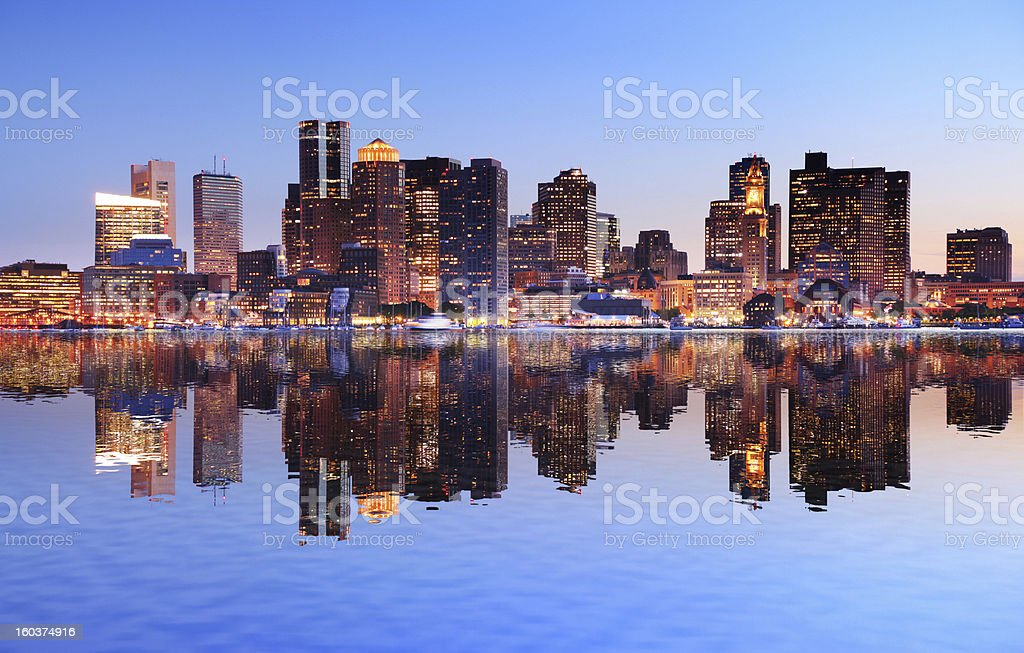 Boston City with Water Reflection at Sunset stock photo