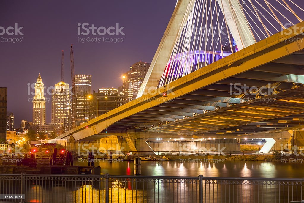 Boston Cityscape and Zakim Bridge at Night royalty-free stock photo