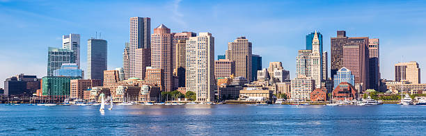 Boston cityscape in a panorama in the morning stock photo