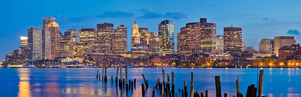 Boston Cityscape in Early Evening - Panorama stock photo