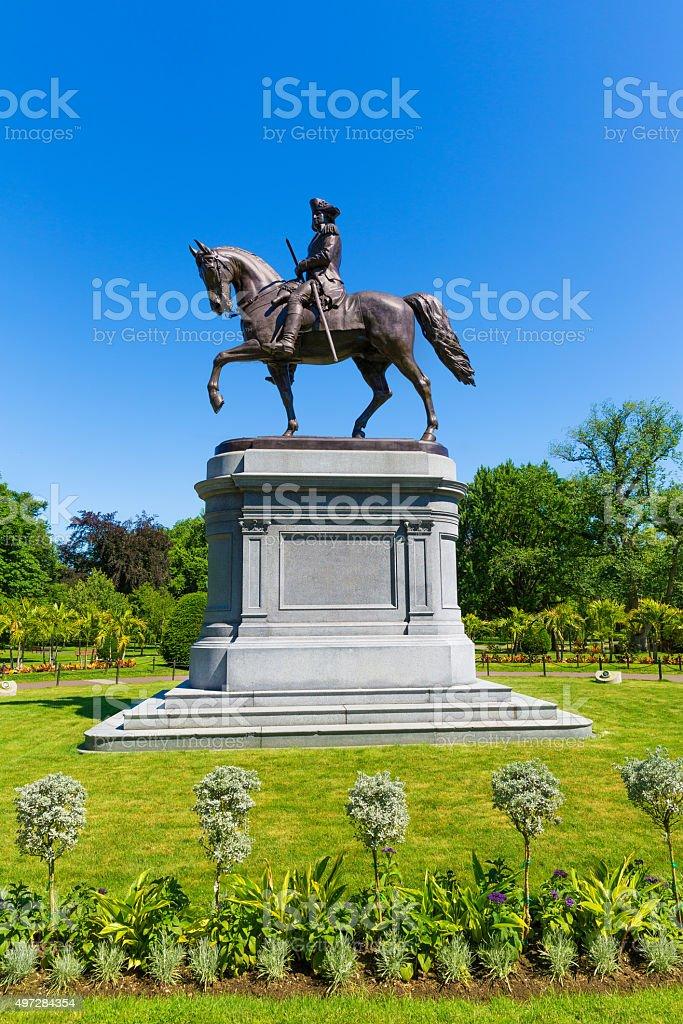 Boston Common George Washington monument stock photo