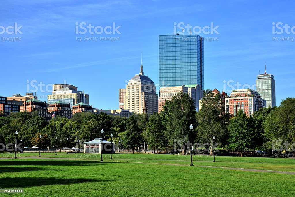 Boston Common Park Gardens with Boston Skyline stock photo