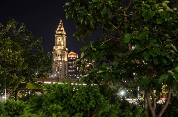 Boston Zollhaus Turm während Sommernacht – Foto
