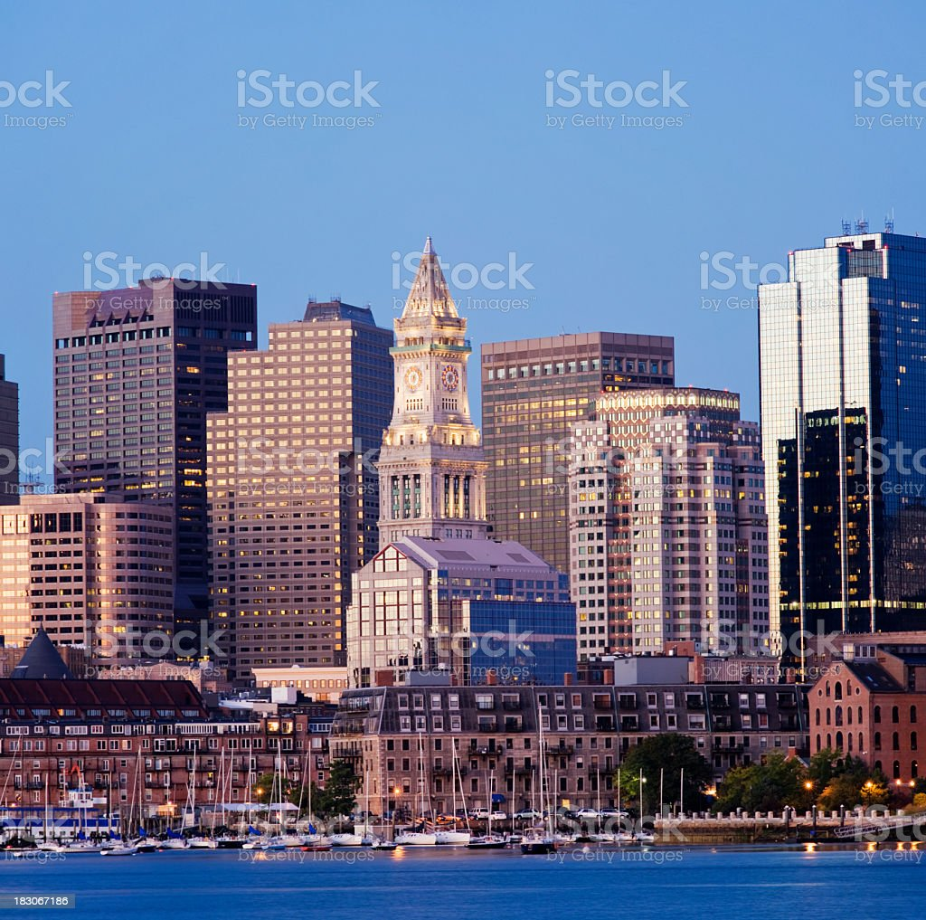 Boston Customs House City Skyline USA royalty-free stock photo