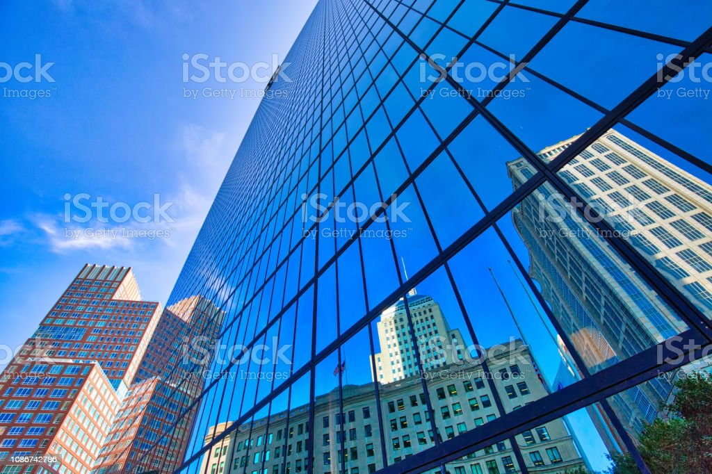 Boston, Famous Copley Square and city skyline stock photo