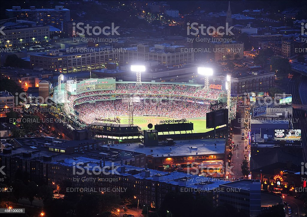 Boston Fenway Park at night stock photo