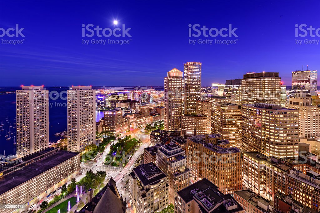 Boston Financial District Cityscape stock photo