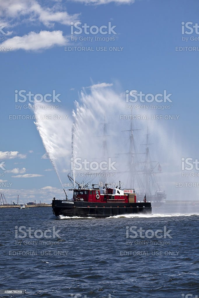 Boston Fire Boat and the USS Constitution stock photo