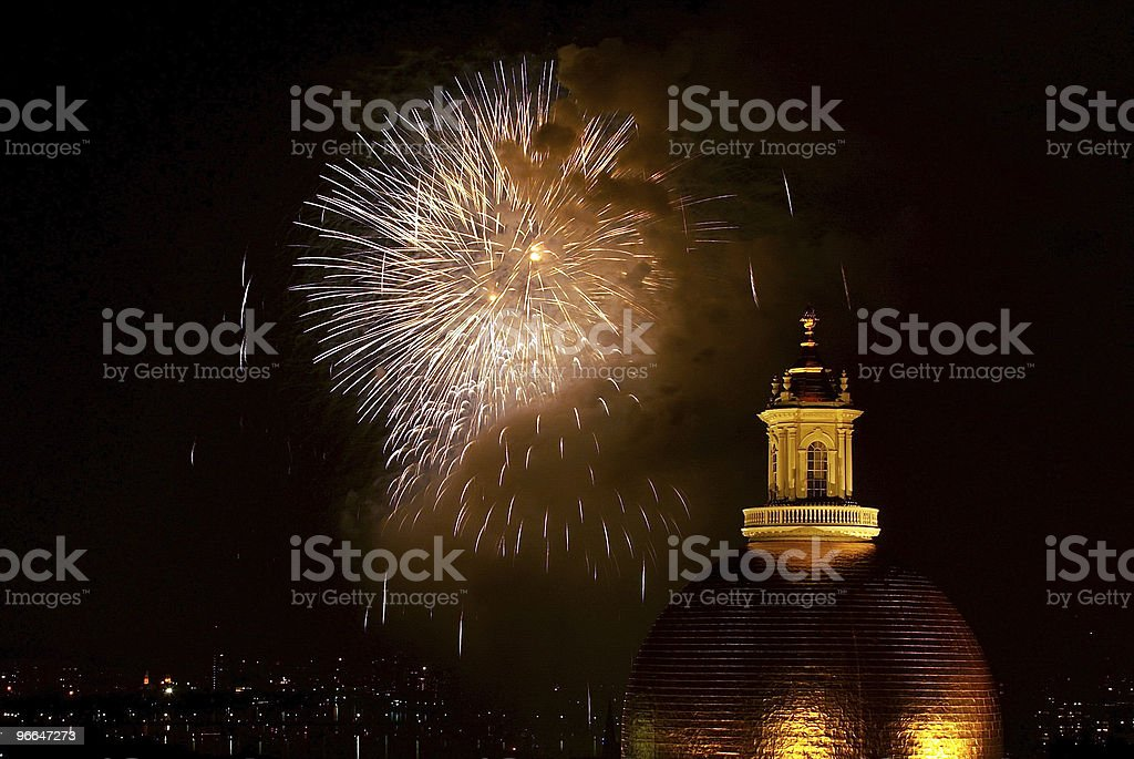 boston fireworks1 stock photo