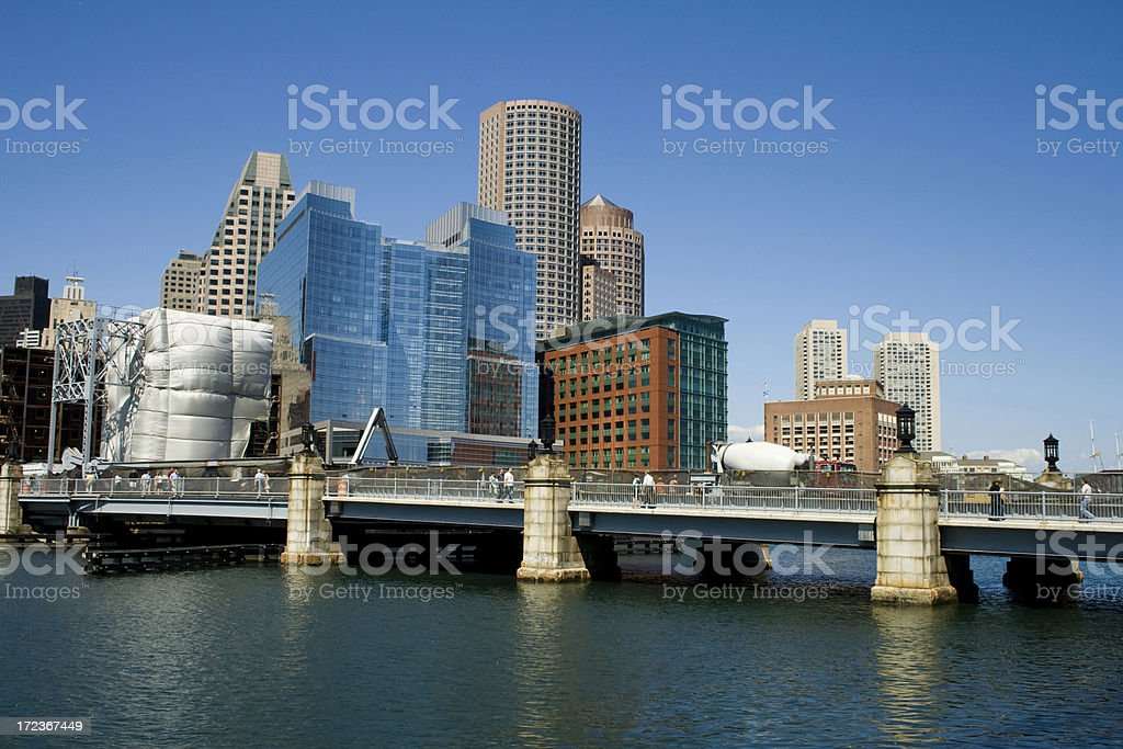 Boston Fort Point Channel stock photo