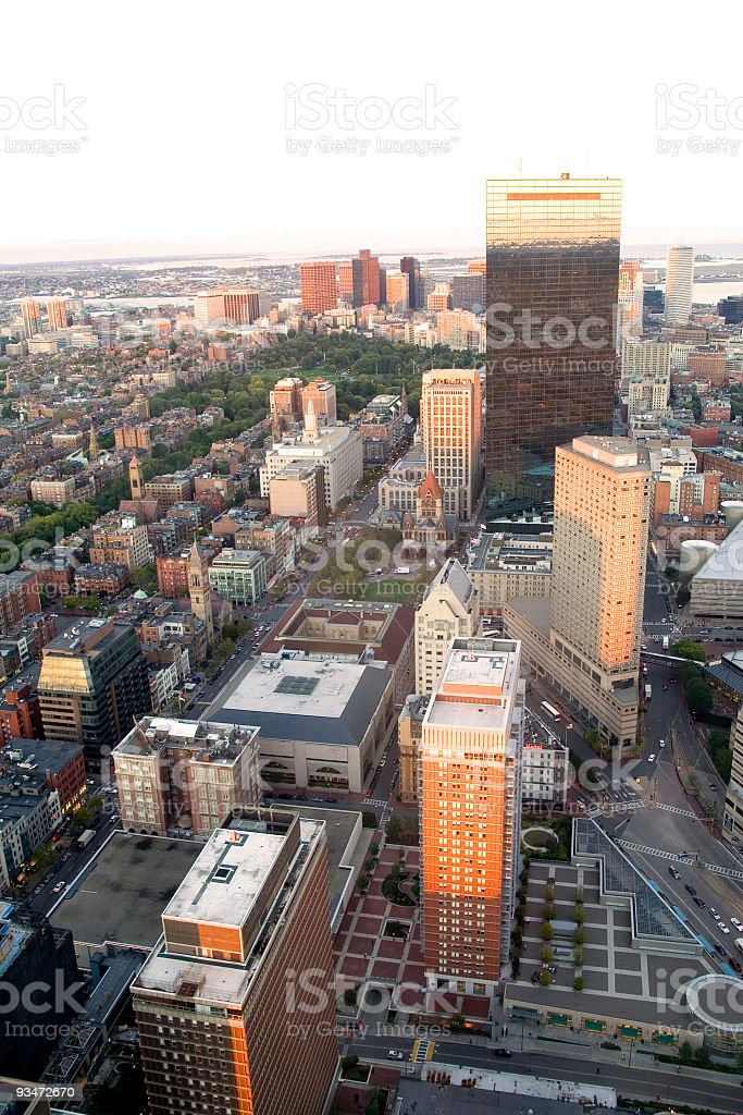 Boston from above - vertical royalty-free stock photo