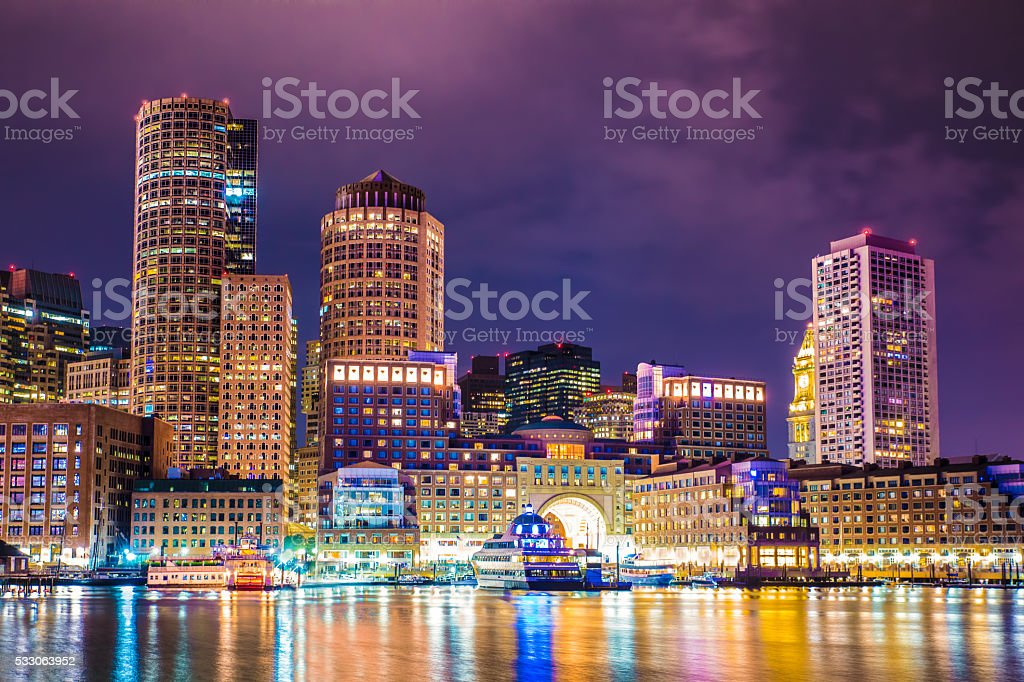 Boston Harbar and Skyline stock photo