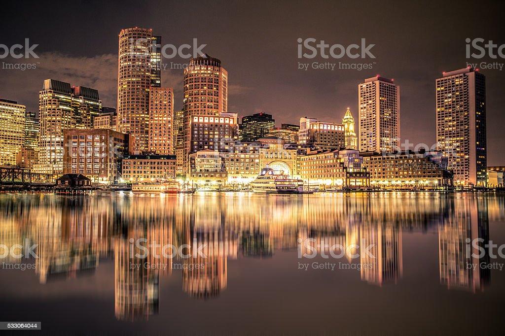 Boston Harbar and Skyline stock photo