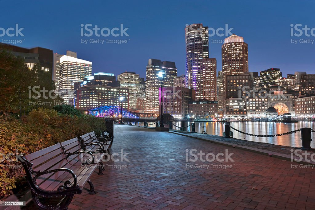 Boston Harbor and Financial District at dusk stock photo