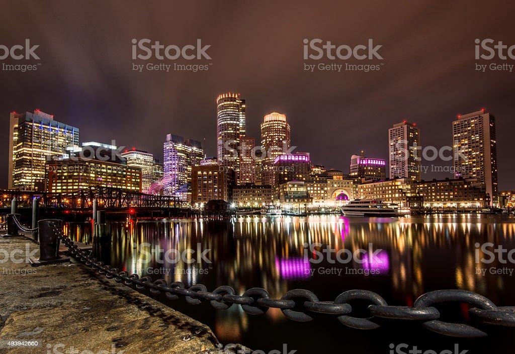 Boston Harbor at Night stock photo